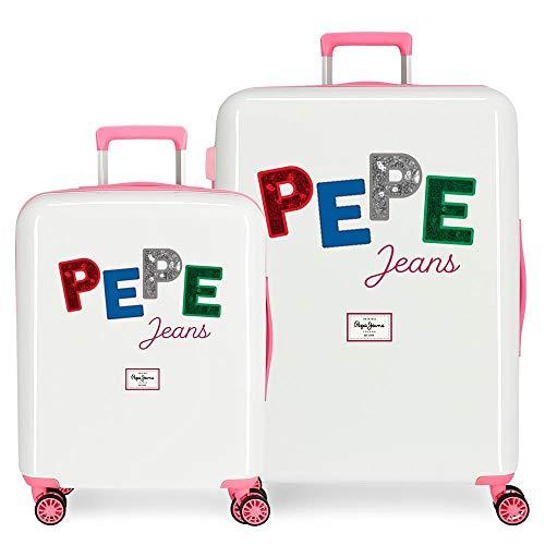 Pepe Jeans Kim Juego de Maletas Multicolor 55/70 cms Rígida ABS Cierre TSA Integrado 119,5L 7,1 kgs 4 Ruedas Dobles Equipaje de Mano