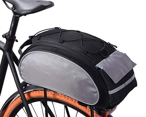 VERTAST Fahrradtasche Fahrrad Satteltasche Gepäcktasche Gepäckträger Tasche Rucksack Seitentasche 13L Schultertaschen Reflektierender, Schwarz