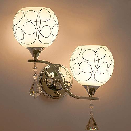 DINGYGJ Luz de Pared de Vidrio, luz de Vela de Pared Moderna con Cromo montado en la Pared for Dormitorio, Sala de Estar, Cocina (Size : Double Head)
