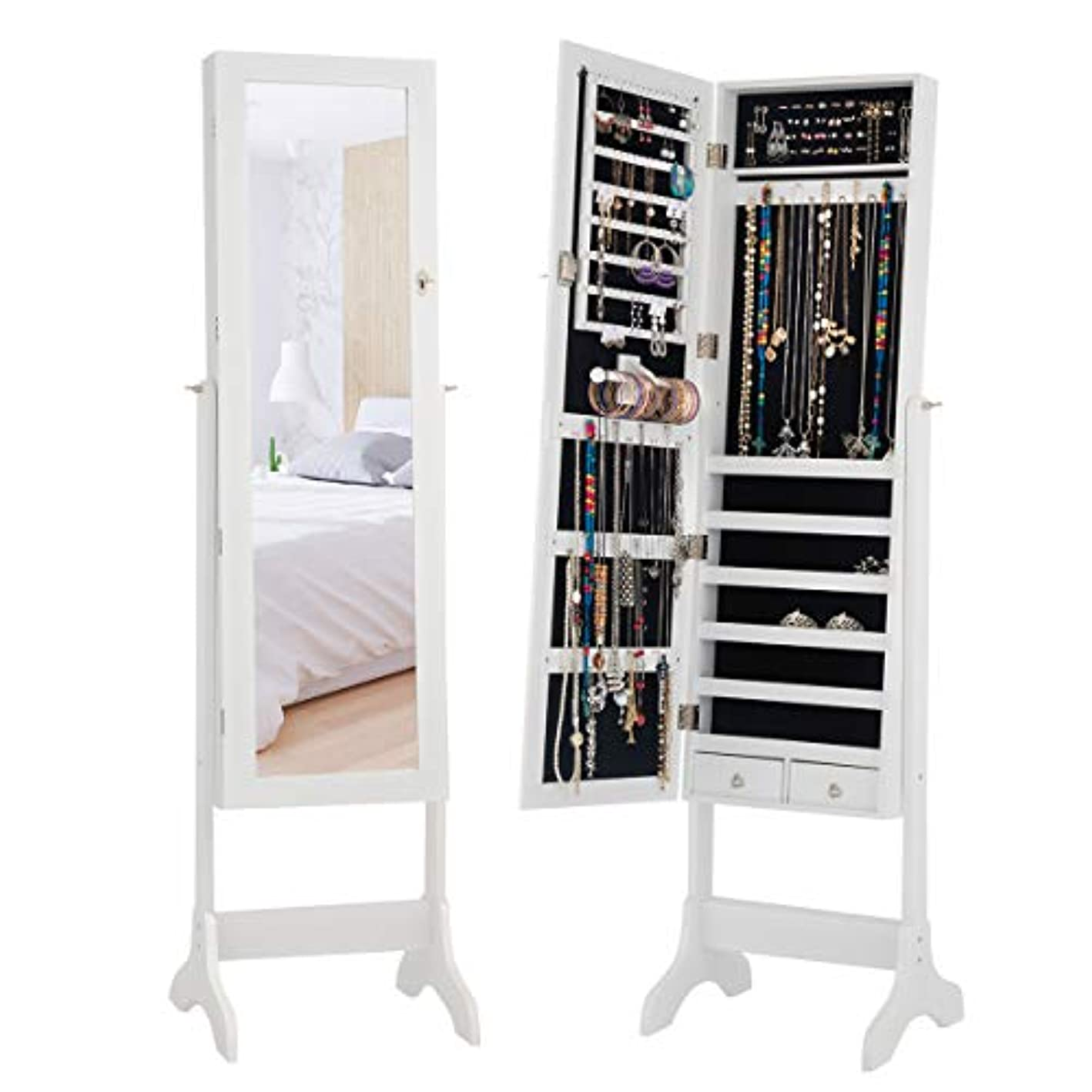 Giantex Mirror Jewelry Armoire Cabinet Lockable Home Storage Organizer Women Girls Free Standing Big Makeup Box Mirrored Home Storage Organizer Bedroom Armoires Without LED (White)