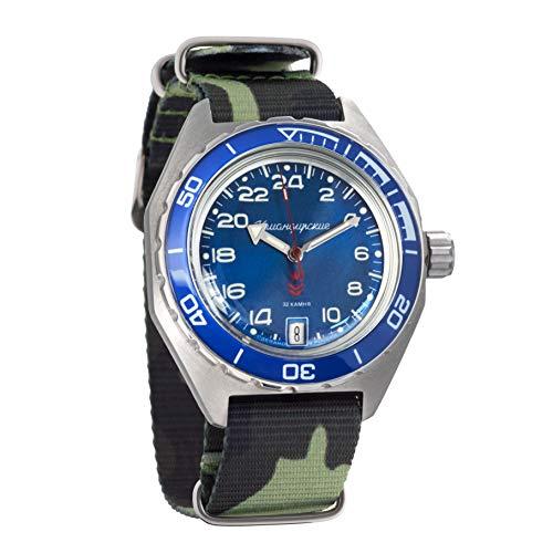 Vostok Komandirskie Reloj de pulsera militar ruso automático 24 horas WR 200m (650547 floragreen)