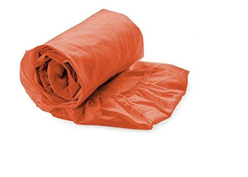 Spannbettuch Uni Stripe Farbe: Mecca Orange, Größe: 30 cm H x 160 cm B x 200 cm T