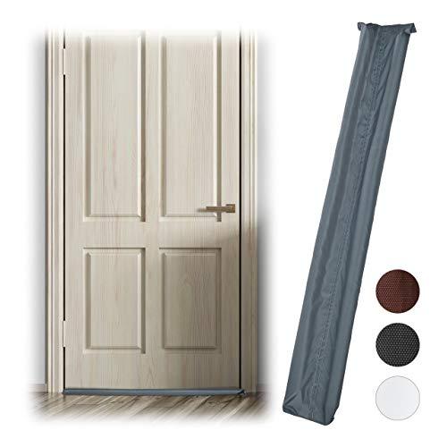 Relaxdays, grijs tochtstrip voor deuren, aan beide zijden, deurrol tegen tocht en kou, stof, deurluchtstopper, 90 cm lang, 3 x 90 x 14 cm