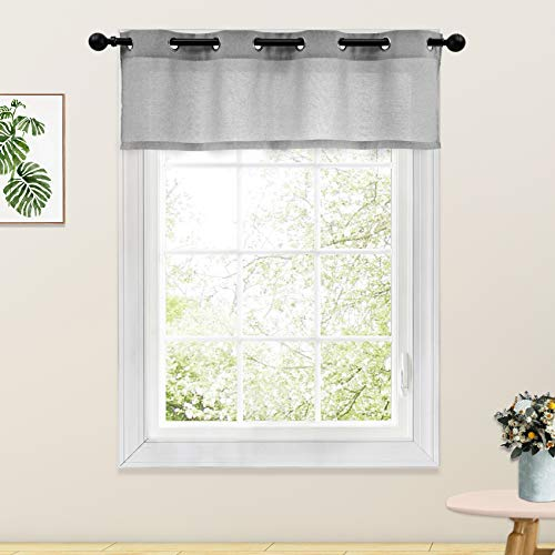 Linen Textured Valance Curtains Living Room 18 inches Long Charcoal Grey Bedroom Curtain Valance 1 Panel Grommet Top