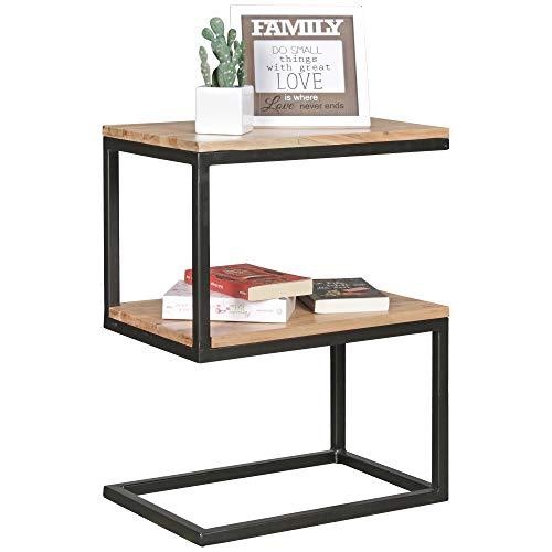 FineBuy Beistelltisch OLAKA S-Form Akazie Massiv-Holz Metall 45 x 60 x 30 cm   Design Wohnzimmertisch Landhaus-Stil   Couchtisch Ablagetisch eckig
