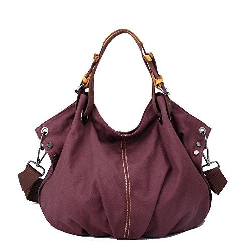 WITERY da donna grande capacità-Borsa impermeabile in tela, stile borsa a tracolla, viola (Viola) - CLOA0017-01