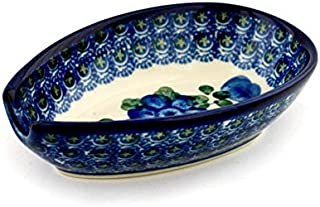 Polish Pottery Spoon Rest 5-inch Blue Poppies