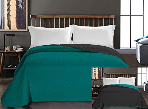 DecoKing Tagesdecke 220 x 240 cm Petrol Graphit grau Bettüberwurf zweiseitig pflegeleicht Axel