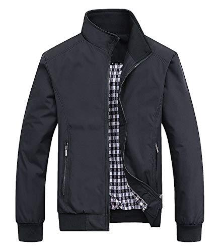 AIEOE - Abrigo Vintage de Hombre Juvenil para Otoño Primavera Chaqueta Cazadora Bombardero Manga Larga Outwear - Negro - Talla ES XXL