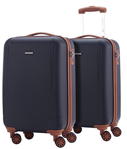 HAUPTSTADTKOFFER - Wannsee - 2 x Handgepäck Koffer-Set Trolley-Set Rollkoffer sehr Leichter Reisekoffer, ABS Hartschalenkoffer 4 Rollen, TSA Zahlenschloss, Dunkelblau