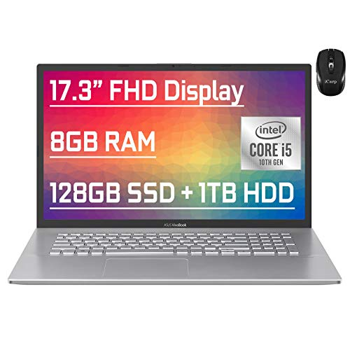 "Flagship Asus VivoBook Business Laptop 17.3"" FHD Display 10th Gen Intel Quad-Core i5-1035G1 (Beat i7-7500U) 8GB RAM 128GB SSD + 1TB HDD Fingerprint Backlit USB-C Wifi6 Win10 + iCarp Wireless Mouse"