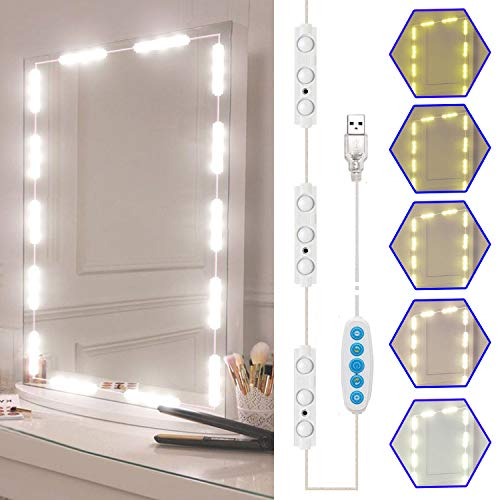 Led Vanity Mirror Lights Kit, SELFILA Hollywood Style Vanity Make Up Light, 11ft with Dimmable Color and Brightness Lighting Fixture Strip for Table & Bathroom Mirror, Mirror Not Included