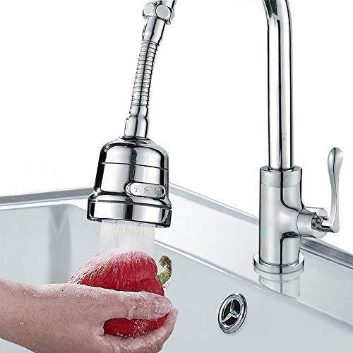 Uni-Fine Adjustable Kitchen Tap Spray Head 3 Gear, Water-Saving Faucet 360°Swivel Faucet Nozzle Filter, Splash-Proof Faucet Tap Aerator for Bathroom Shower Kitchen Tap Sink Hose Accessories (Long)