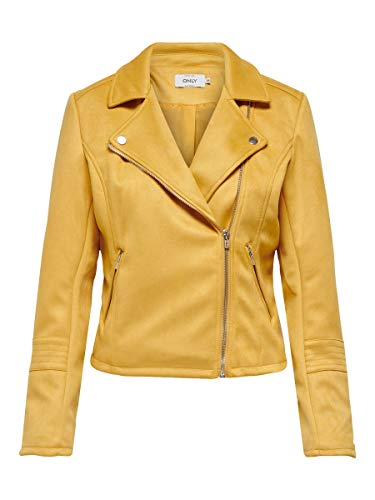Only Onlgerry Faux Suede Biker Otw Giacca, Golden Apricot, 38 Donna
