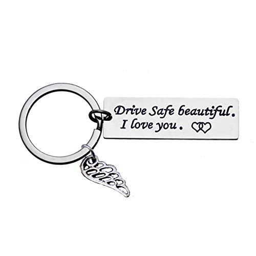 Drive Safe Mooie Ik hou van je Romantische Sleutelhanger Voor Vrouwen Vriendin Vrouw Tag Wing Bedel Sleutelhanger Sleutelhanger Ring Valentine'S Gift