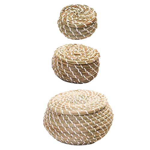 Cabilock - 1 juego de cestas de paja trenzada con tapa, cestas de mimbre ideales como canasto, macetero, cesto de juguetes o cesta de almacenaje decorativa para salón o baño
