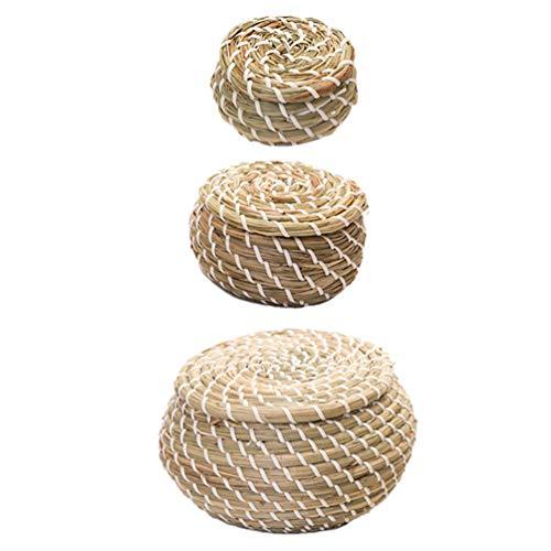 Cabilock - Juego de 1 cesta de paja trenzada con tapa, cesta de mimbre, cesta de Pascua, jarrón de plantas, juguete, cesta decorativa para sala de estar, baño
