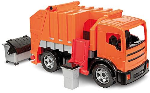 Lena M00002731 Starke Riesen Müllwagen, Giga Trucks Müllfahrzeug ca. 72 cm, robuster Müll LKW mit 2 Achsen, Müllauto Funktion und 2 Mülltonnen, XXL Spielfahrzeug für Kinder ab 3 Jahre, Orange, Grau