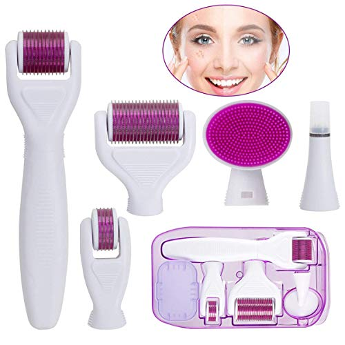 Derma Roller, Derma Roller Kit, 6 In 1 Micro Needling System By Youth Stream To Reduce Wrinkles, Sun Damage, Dark Spots, Scars, Cellulite, Stretch Marks To Use On Face, Eyes, Body