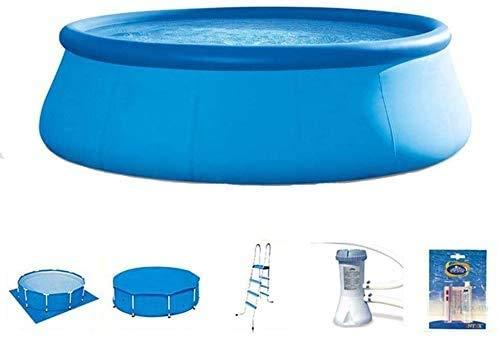 YF-SURINA Piscina hinchable de verano Piscina sobre el suelo Piscina familiar Piscina redonda Estructura Piscina,Azul,457 × 122 cm
