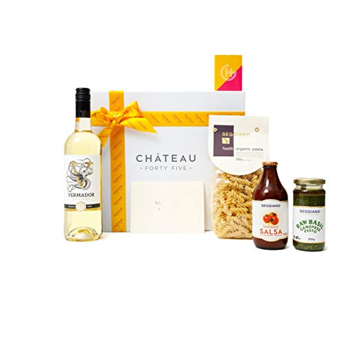 Harding Gomez 100& Vegan Seggiano Luxury Premium Artisan Gift Food Pesto Salsa Pasta Red/White Wine Birthday/Occasion Gift Hamper basket (White Wine, Medium Hamper)