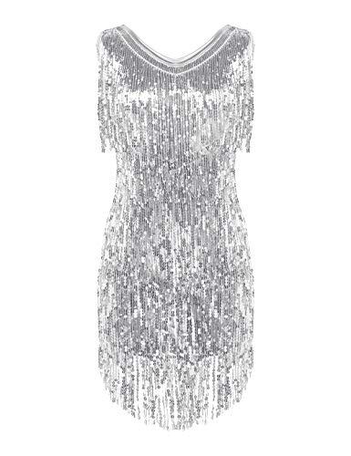 Freebily Abito Vintage Elegante Tubino Cocktail Vestito da Sera Gatsby Donna 1920S Abito Anni 20 Charleston Flapper Dress Abito Aderente Corto Sexy Argento Medium