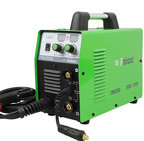 Soldador MIG Flux Core sin gas 110V/220V Reboot MIG150 Stick Mig Welding Machine 150 Amps Gas and Gasless 2 in 1 Flux Core / Solid Wire Automatic Feed Inverter IGBT Inversor MMA ARC Soldadura para acero inoxidable suave