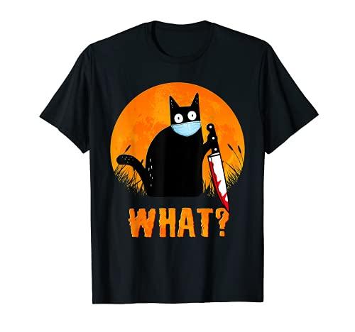 Camisa de Halloween de gato negro Qué divertido cuchillo de gato negro aterrador Camiseta