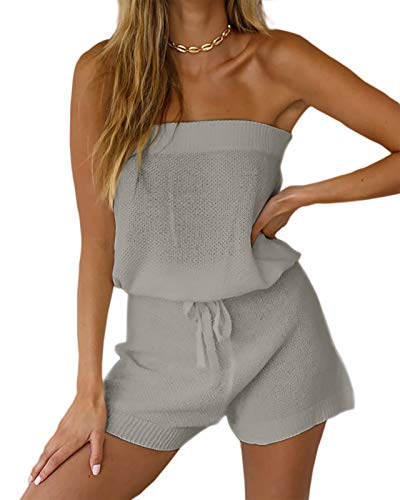 Chang Yun Womens Summer Jumpsuits Casual Loose Sleeveless Off Shoulder Elastic Waist Romper Loungewear Two Piece Outfits Gray