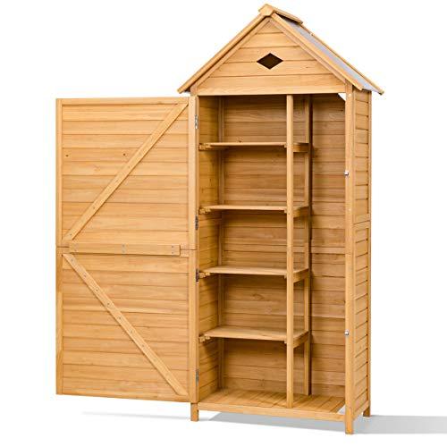 Goplus Gerätehaus Gartenhaus Geräteschuppen Geräteschrank Gartenschrank Gartenschuppen,Hellbraun, aus Holz, 70 x 35,5 x 176cm