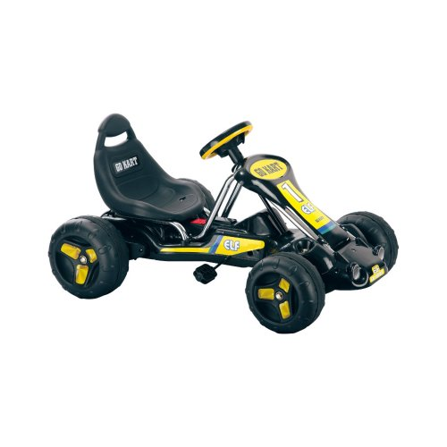 Lil' Rider Go Kart Pedal Car – 4-Wheel Ride On Toy Cars for Kids – Outdoor Go Cart with Racing Decals for 3-7 Year Old's (Black and Yellow), 37'Lx25'Wx20'H (80-6659D)