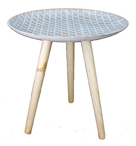GMMH Design Retro Beistelltische 40 cm Holz Weiß Kaffeetisch Couchtisch Nachttisch (Design13-8Platte Creme)