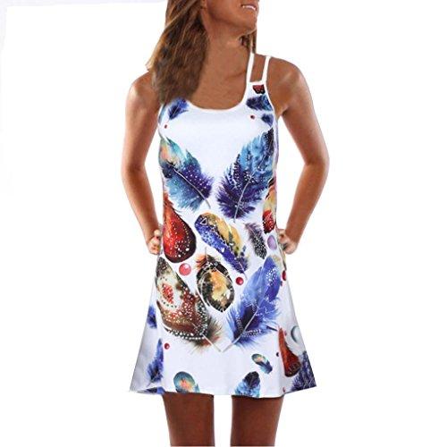 VEMOW Sommer Elegante Damen Frauen Lose Vintage Sleeveless 3D Blumendruck Bohe Casual Täglichen Party Strand Urlaub Tank Short Mini Kleid(Weiß 10, 44 DE / 2XL CN)