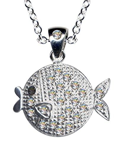 Colgante de plata con diseño de pez luna, pez bala, pez blanco, animales y cadena de plata de ley 925 con circonitas, brillantes transparentes, blancos, hermoso amor, extravagante, moderno, 51089