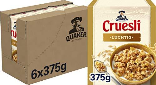 Quaker Cruesli Luchtig Naturel, Doos 6 stuks x 375 g