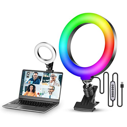 VIJIM Kit de iluminación de videoconferencia, luz de anillo RGB Selfie de 6,3 pulgadas para monitor con clip, lámpara de círculo para computadora de videoconferencia, cámara web para trabajo remoto