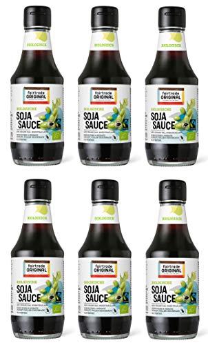 6 x 200 ml Bio Soja Soße von Fairtrade Original | Sojasauce | Glutenfreie Soyasoße | 4 Monate gereift | ohne Geschmacksverstärker | Fair Trade Soja Sauce für asiatisch Kochen oder Sushi (6 Flaschen
