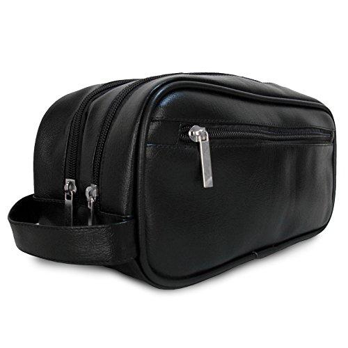Mister Bag Trousse de toilette en cuir avec fermeture éclair pour homme ou femme – Trousse de rasage en cuir – Trousse de voyage 2 compartiments, Noir (Noir) - B01BUU0BEI