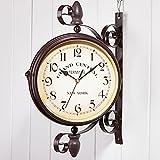 SXFYHXY Reloj De Pared Grande para Exteriores con Rotación Reloj De Estación De Tren De Doble Cara para El Jardín Reloj De Cuarzo Silencioso Montado En La Pared Reloj Exterior