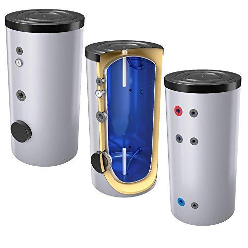 200 Liter emaillierter Warmwasserspeicher/Trinkwasserspeicher, Energieeffiziensklasse B, ohne Wärmetauscher, inkl. Isolierung, Magnesiumanoden und Thermometer