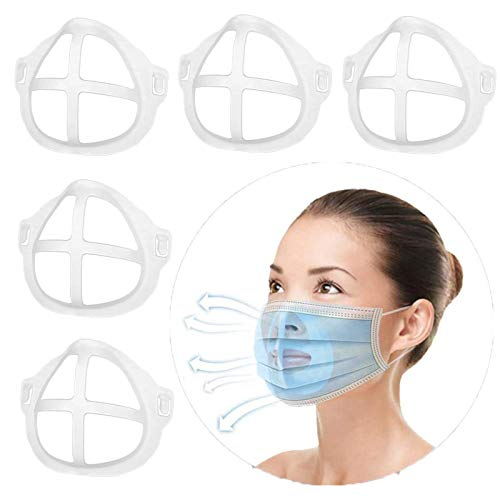 3D Face Bracket for Comfortable Wearing, Silicone Internal Support Frame for Cloth Face Bandanas Shield, Holder Keep Fabric off Mouth to Create More Breathing Space, Makeup Lipstick Protection Reusable, Pack of 5
