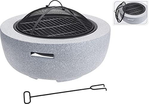 Firepit - Fuegos para exteriores grandes, 3 en 1, para fogata redonda, parrilla para barbacoa, fogones de hielo, calentador exterior, brasero de metal y cuenco para barbacoa de camping (redonda)
