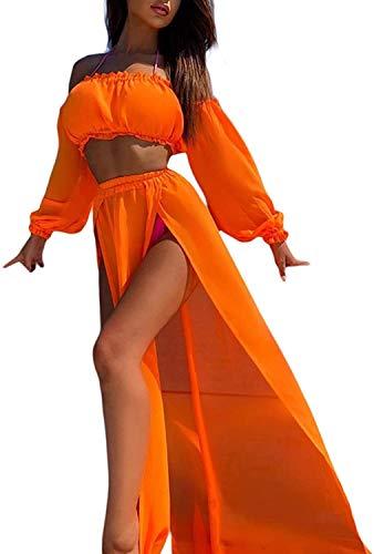 Vestido de Playa 2 Piezas Traje de Baño para Mujer Cubierta de Bikini Crop Top Camiseta Corta de Manga Larga Falda Larga con Aberturas Pareo Cover Up Verano de Encaje para Viaje Vacaciones, Naranja