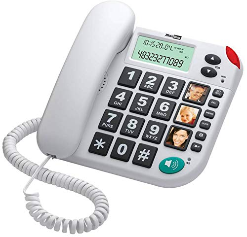 MaxCom KXT480 - Teléfono (Teléfono analógico, Altavoz, Identificador de Llamadas, Blanco)