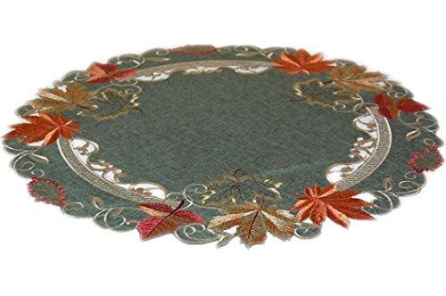 Tischdecke rund 60 cm Leinenoptik grün Stickerei Blätter Terrakotta beige (60 cm rund)