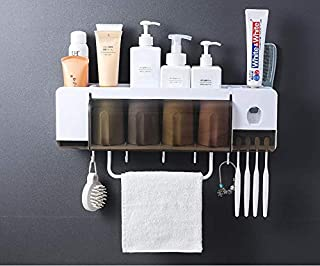 Toothbrush Holder Bathroom Storage Organizer Rack with Hooks Dustproof Cover Towel Bar Wall Mounted Space-Saving No Drilli...