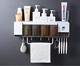 Toothbrush Holder Bathroom Storage Organizer Rack with Hooks Dustproof Cover Towel Bar Wall Mounted Space-Saving No Drilling Toothbrush and Toothpaste Squeezer Kit,4 Rinse Cups,4 Brush Slots