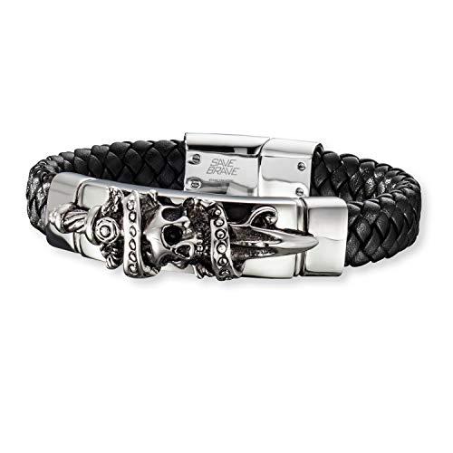 SAVE BRAVE® Herrenarmband aus Edelstahl mit Totenkopf Anhänger, Premium Armband für Herren mit Leder 21 cm, größenverstellbar mit Zwischenelement, schwarzes Armband für Biker und starke Männer