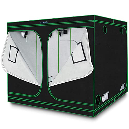 Quictent 96'x96'x78' Mylar Hydroponic Grow Tent with Observation Window and Removable Floor Tray for...