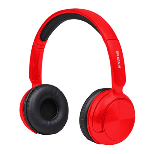 Sylvania SBT235-Red Bluetooth Wireless Headphones with Microphone, Red